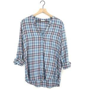 Soft Joie Dane Plaid Button Down Shirt Copen Blue